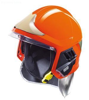 details of MSA F1 XF Fire Helmet,ORANGE